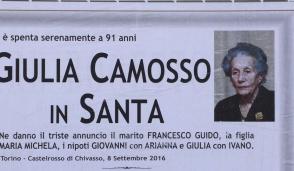 Castelrosso piange Giulia Camosso, aveva 91 anni