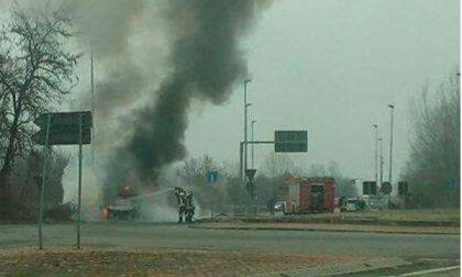 Auto in fiamme in stradale Torino a Chivasso
