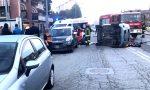 Auto ribaltata in via Milano, ferita una donna