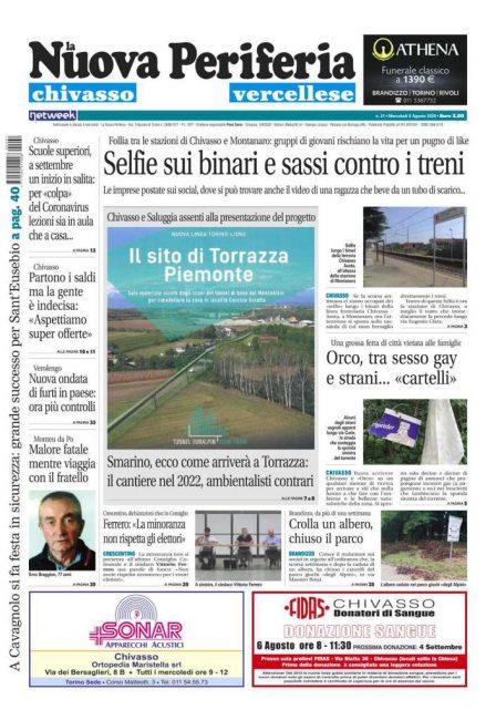 La Nuova Periferia edizione Chivasso e Vercellese è in edicola da ieri, mercoledì 5 agosto 2020. Ecco la prima pagina e le notizie principali.