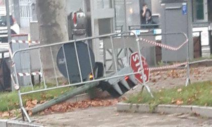 Cade un semaforo in piazza a Brandizzo