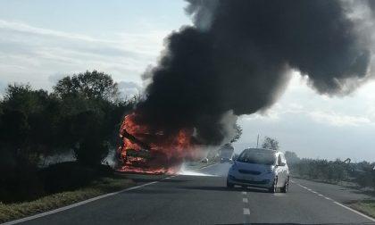 Incendio camper lunga la provinciale LE FOTO