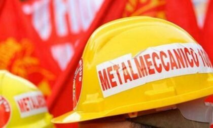 Lavoratori delle aziende metalmeccaniche in sciopero nel Torinese